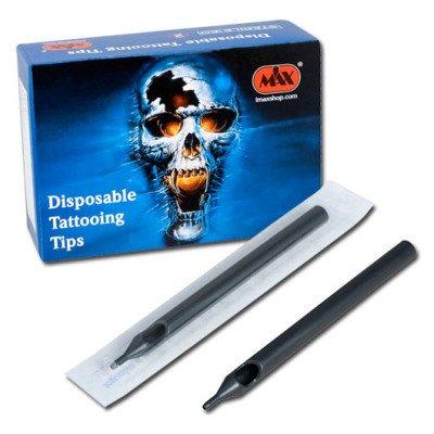 Black Long Plastic Tips EO Sterile Box 50pcs.