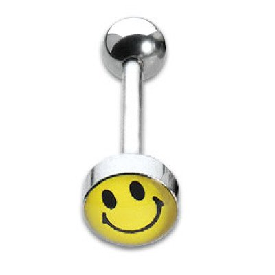 Tongue Studs 1.6x16mm Smiley Face