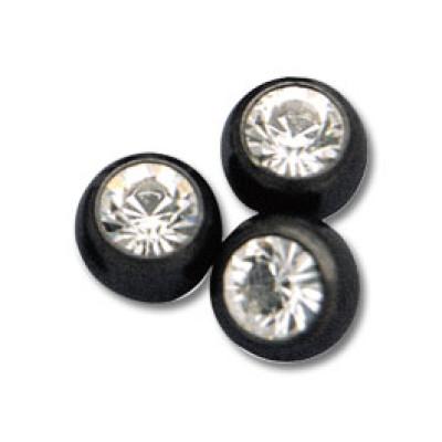 Black Jewelled Balls Clip-in