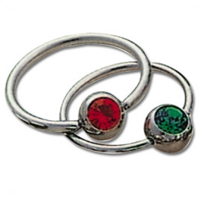 Titanium Jewelled Captive Bead Rings