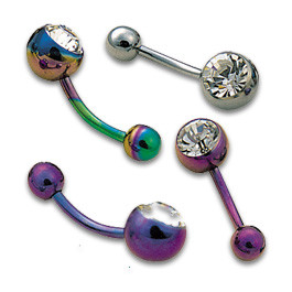 Titanium Anodised Jewelled Navel Banana