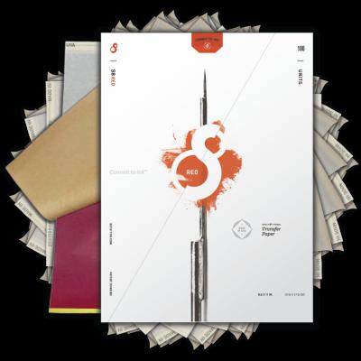 S8 Red Stencil Paper per stampanti & disegni a mano 100pz.