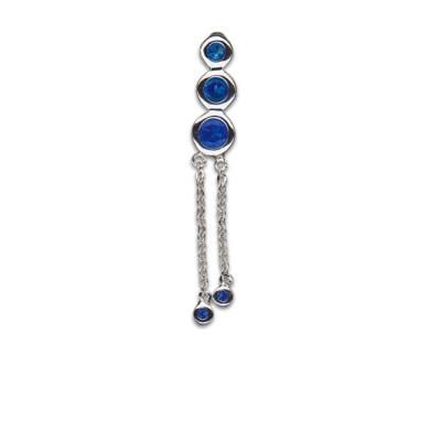 Doppio zircone pendente 1.6x10mm Blu Zaffiro