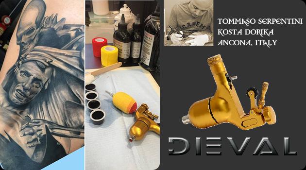 Tommaso Serpentini  Kosta Dorika Tattoo with Dieval Rotary Tattoo Machine