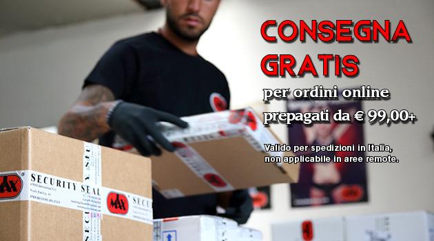 Free shipping per ordini online prepagati da Eur. 99,00